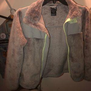 grey The North Face fleece jacket zip-up